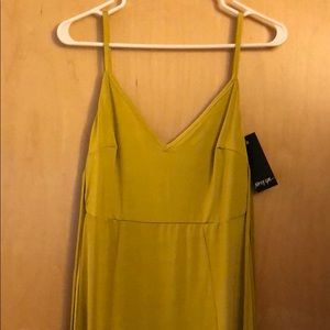 Yellow maxi dress with off the shoulder ties